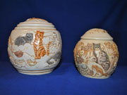 Handpainted Cat Urn